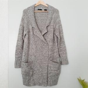 PRESS Grey Marled Wool Blend Long Button up Knit Cardigan L